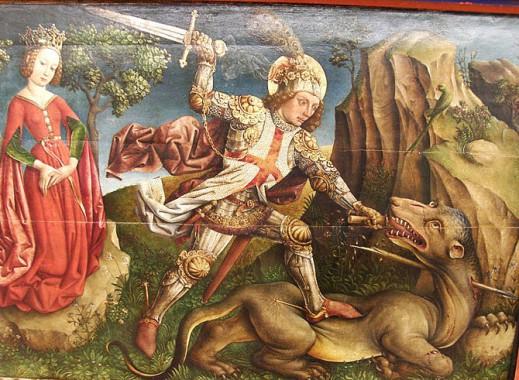 Изображение на деревянной доске: Святой Георгий, убивающий дракона.