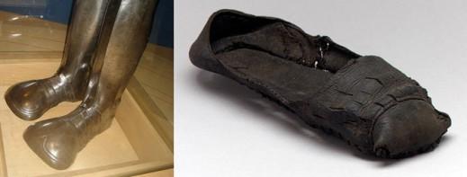 Элемент доспехов; кожаные туфли, выполненные в Англии (XVI век).