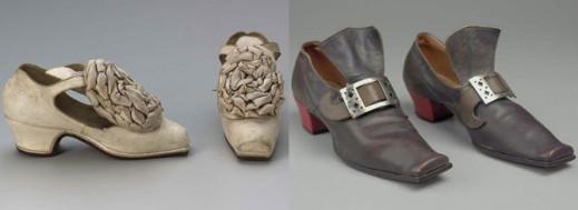 В XVII веке, в эпоху барокко в моду вошли каблуки и банты на туфлях.