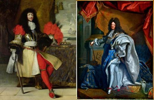 Портреты Людовика XIV, 1670 и 1701 годы.