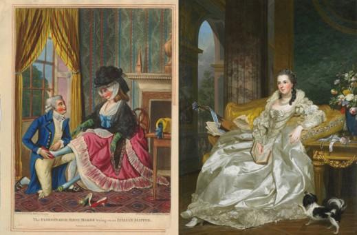 Иллюстрация конца XVIII века; женский портрет, 1763 год