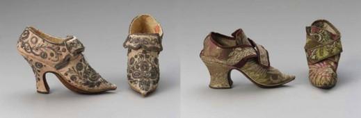 Европейские туфли, 1750–1760 гг; предположительно английские туфли, начало 1730-х гг