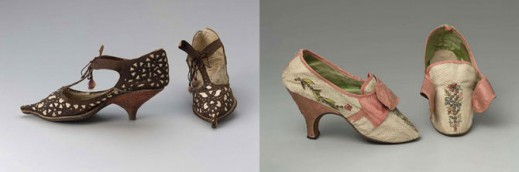 Французские туфли, начало XVIII века; европейские туфли, 1780–85 гг