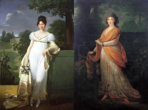 Портрет Фелисите-Луизы Дюрфор, 1808; портрет Варвары Голицыной, 1792