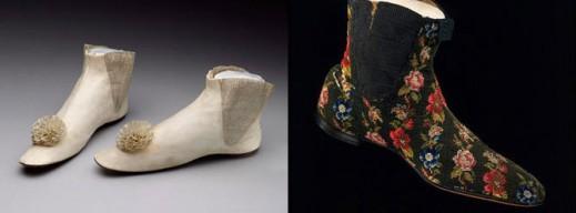 Свадебные ботинки, 1865 год; женские ботинки, 1845-1865 гг