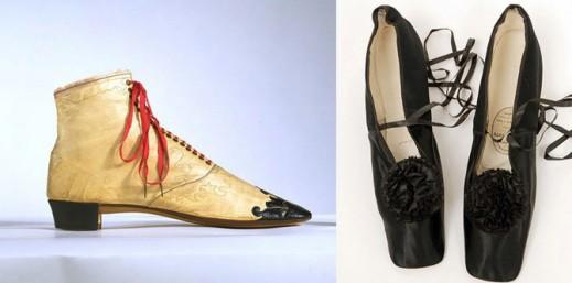 Женские ботинки, 1850 г; вечерние туфли императрицы Евгении