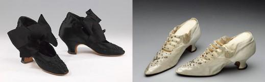 Вечерние туфли, 1875–85 гг; свадебные туфли, сделаны в 1886 году
