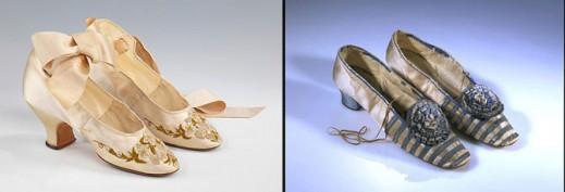 Вечерние туфли, 1875–85 гг; женские туфли 1855-1865 гг